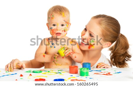 happy family mother and baby paint colors hands dirty isolated on white background - stock photo