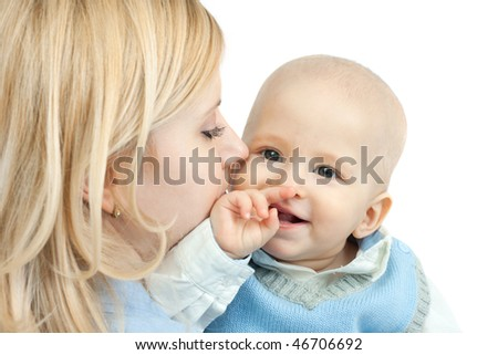happy family: mother and baby smiling - isolated on white background - stock photo
