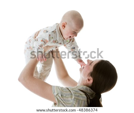 Happy family.  Mother and  her sweet  baby on a white background. - stock photo