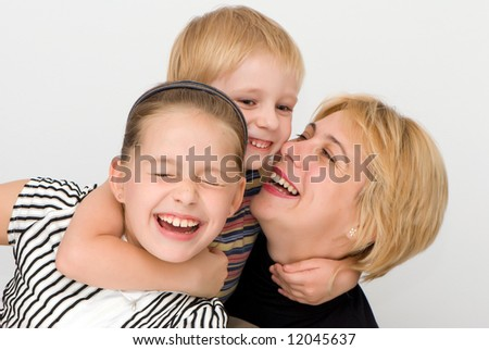 Happy family, Mother, daughter,  son, - stock photo