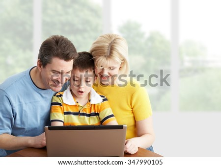 Happy family  mother father and children at home. - stock photo
