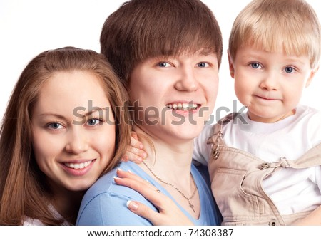 happy family, mother ,father and their four year old son