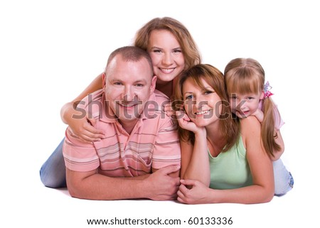 Happy family. Mother, father and two daughters