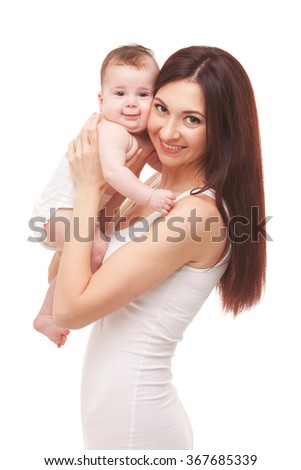 Happy family, mother holding baby, isolated on white background