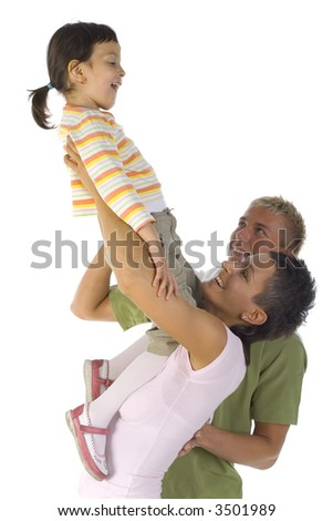 Happy family. Mother picking up daughter. Isolated on white in studio, side view - stock photo
