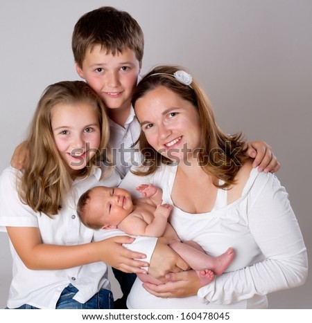 Happy family. mother with children.