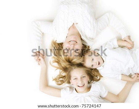 Happy Family.Mother with kids over white - stock photo