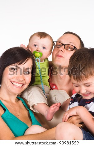 happy family of a four on white background