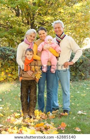 happy family of five - stock photo