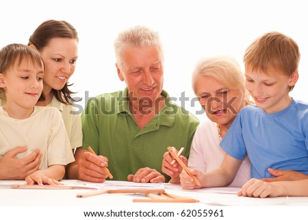 happy family of five on a light - stock photo