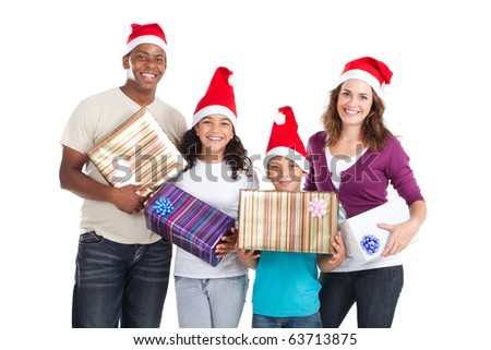 happy family of four holding christmas presents on white - stock photo