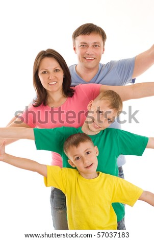 happy family of four on a white background