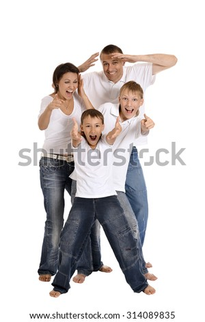 Happy family of four on white background