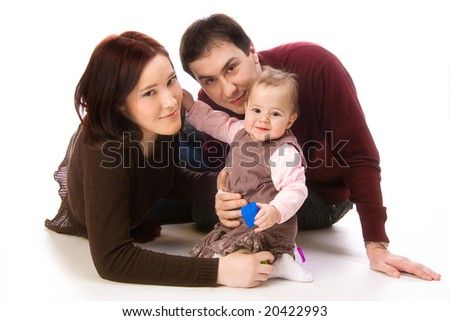 Happy Family of Mother, Father and Daughter - stock photo