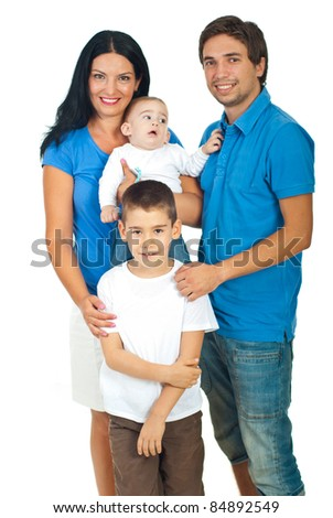 Happy family of parents with two sons  against white background - stock photo