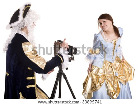 Happy family of photographer shoot. Isolated. - stock photo
