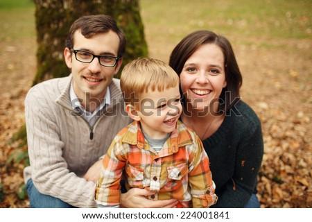 Happy Family of Three - stock photo