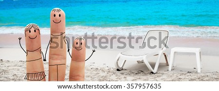 Happy family  on a tropical beach.  Summer Vacation - stock photo