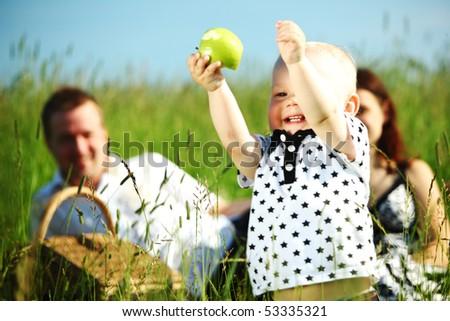 happy family on picnic - stock photo