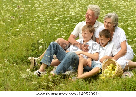 happy family on picnic in summer