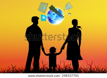 Happy Family on red sundown background  and Cosmic technologies - stock photo