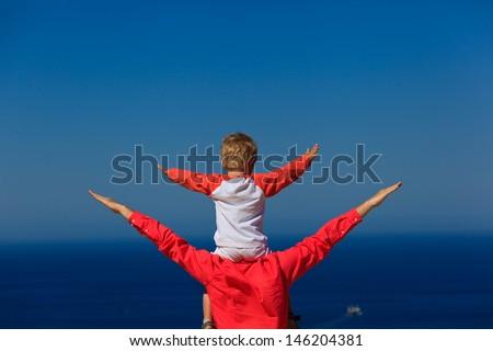 happy family on sea vacation - stock photo