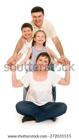 happy family on white - stock photo
