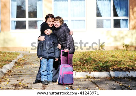 happy family outdoor  mother and childrens - stock photo