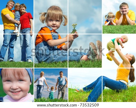 happy family outdoors assembling frame - stock photo
