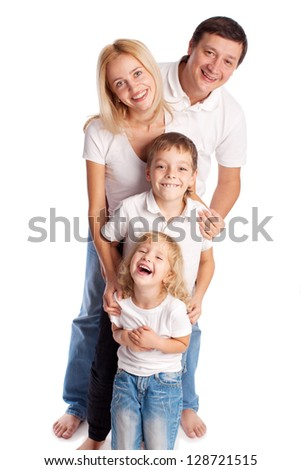 Happy family. Parents with children. Mother, father, son and daughter isolated on white background - stock photo