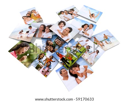 happy family photos isolated over a white background - stock photo