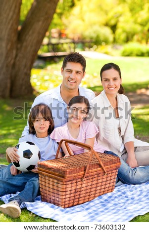 Happy family picnicking in the park - stock photo