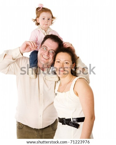 Happy Family playing with kid together isolated on white