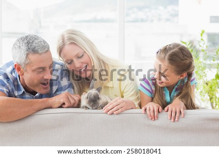 Happy family playing with rabbit on sofa at home - stock photo