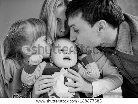 happy family portrait - stock photo