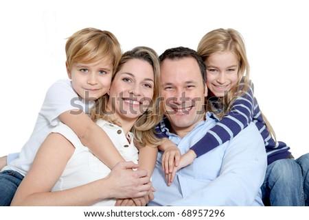 Happy family portrait - stock photo