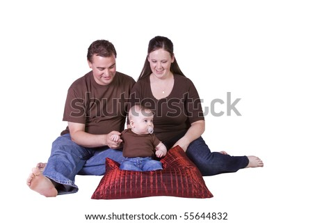 Happy Family Portrait - Isolated White Background - stock photo