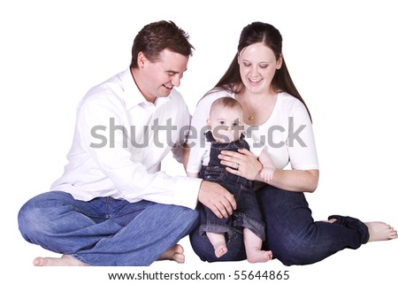 Happy Family Portrait - Isolated White Background