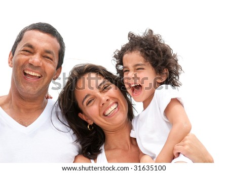 happy family portrait outdoors during a holiday - stock photo