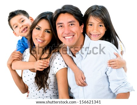 Happy family portrait smiling together - isolated over white background  - stock photo