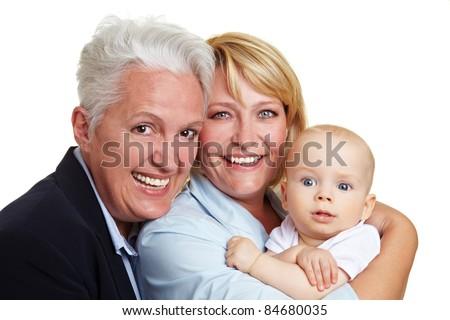 Happy family portrait with baby, mother and grandmother - stock photo