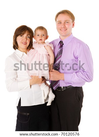 Happy Family posing together isolated on white - stock photo