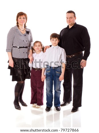 Happy Family posing together isolated on white