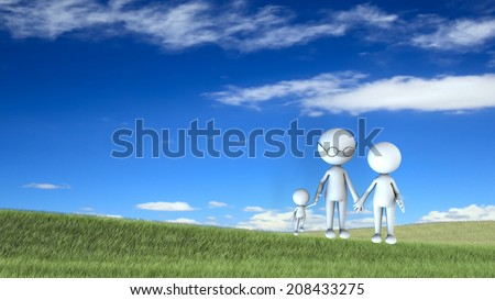 happy family scene outdoors for adv or others purpose use - stock photo