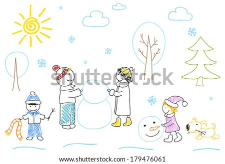 Happy family sculpts snowman. Children's drawing - stock photo