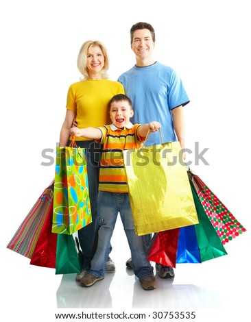 Family Carrying Shopping Bags Gifts Diwali Stock Photo 113774182 ...