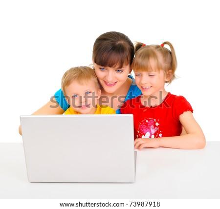 Happy family shopping online - stock photo