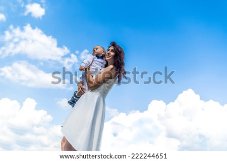 Happy family shot of mother and her baby