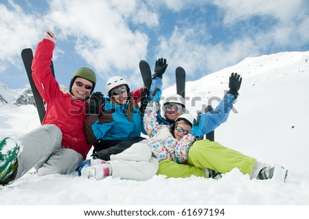 Happy family, ski, sun and fun