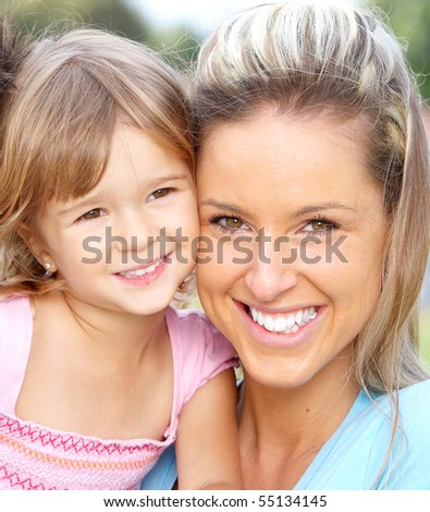 Happy family. Smiling mother and daughter
